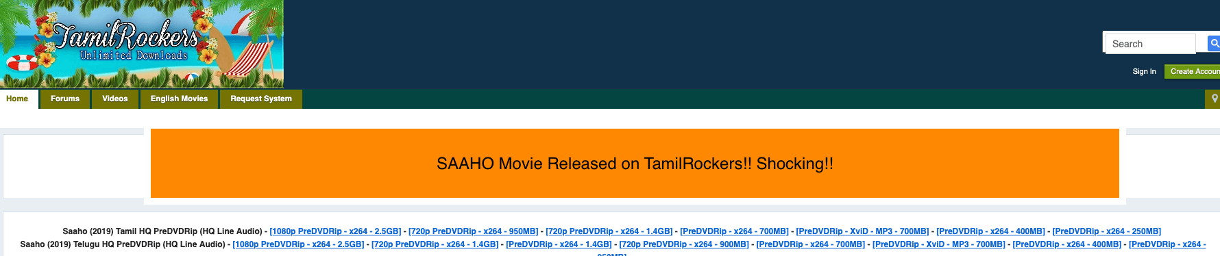 Saaho Movie Online & Download on TamilRockers and Torrent