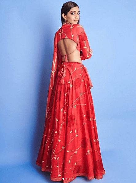 onam Kapoor in a Traditional Red Lehenga