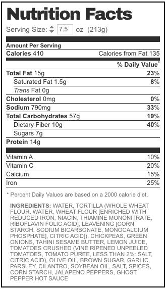 tadah falafel wrap nutrition