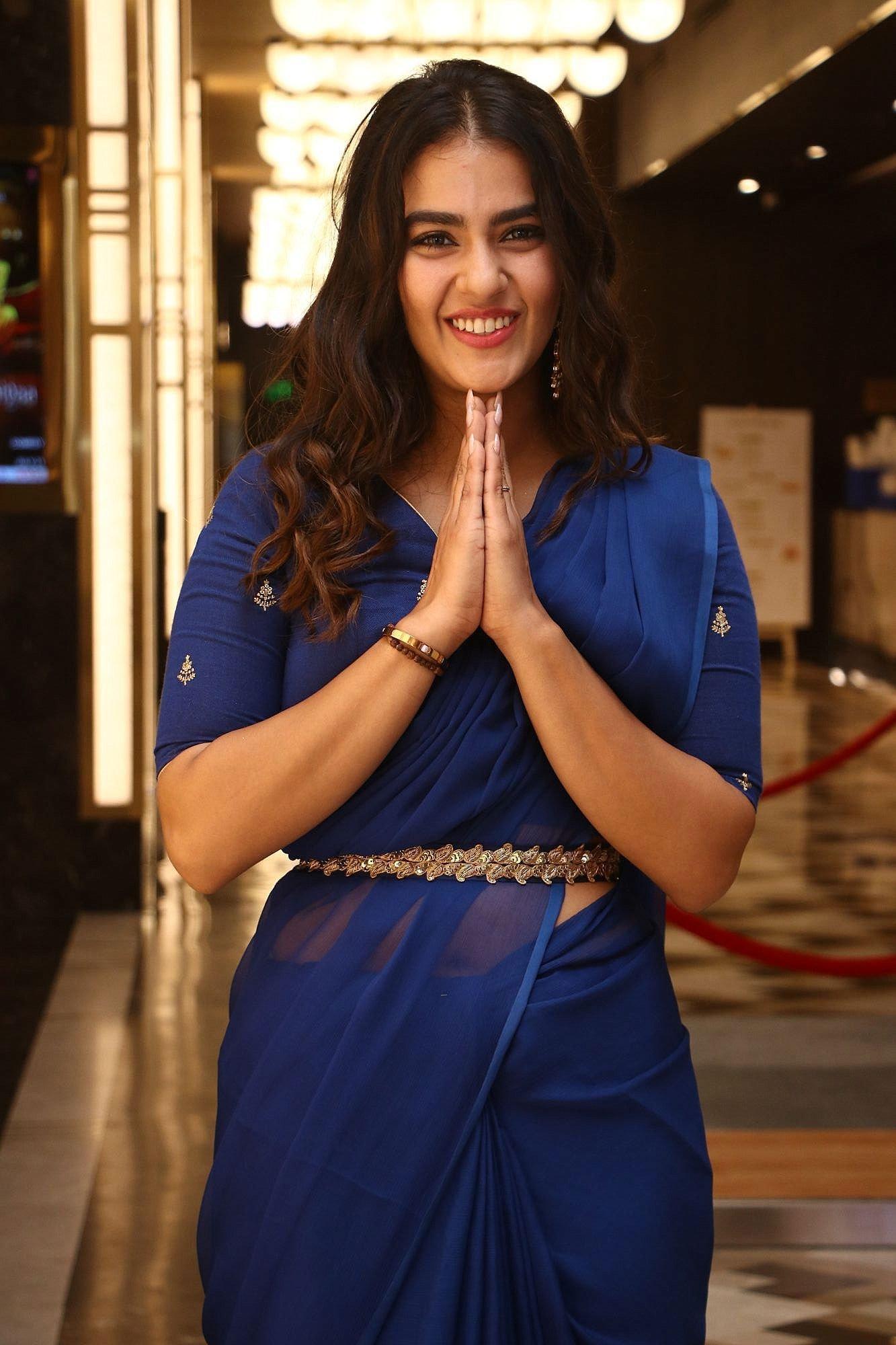 Kavya Thapar Blue Saree Photos @ Market Raja Audio Launch