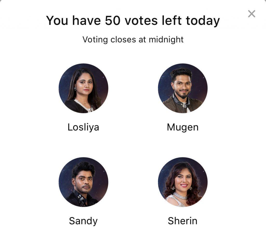 Bigg Boss 3 tamil finale vote