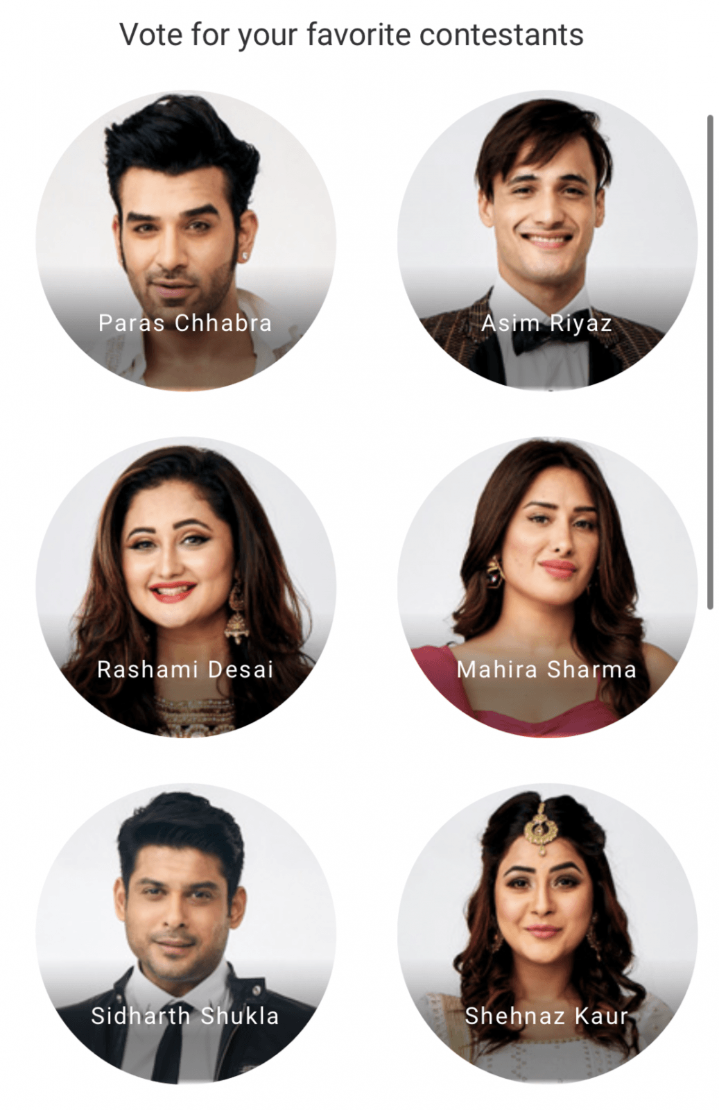 Bigg Boss 13 Voting Online Week 5 All Contestants Are