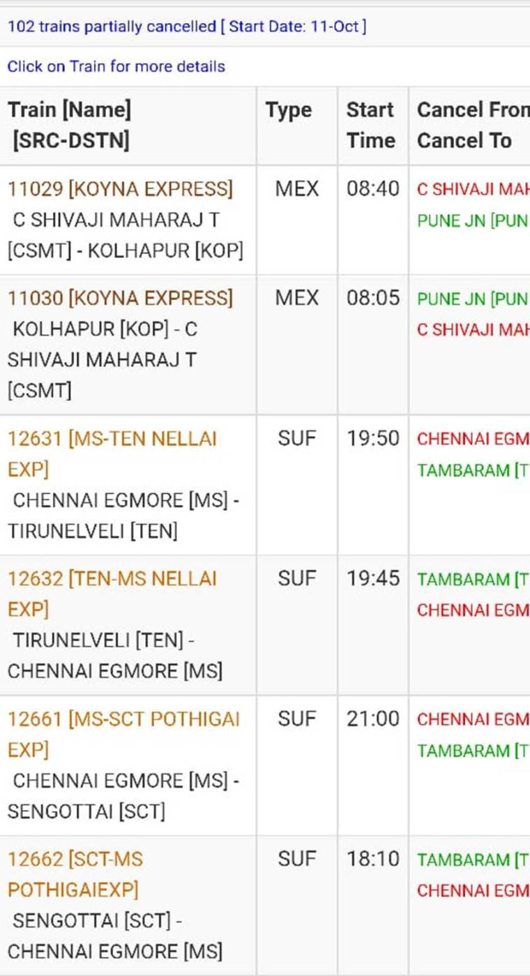 irctc partially cancelled trains 10-11-2019