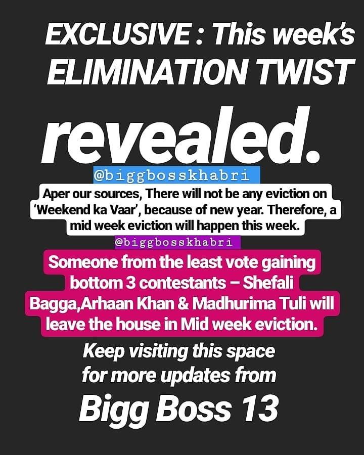 Bigg Boss 13 No Eviction Due To New Year 2020 During