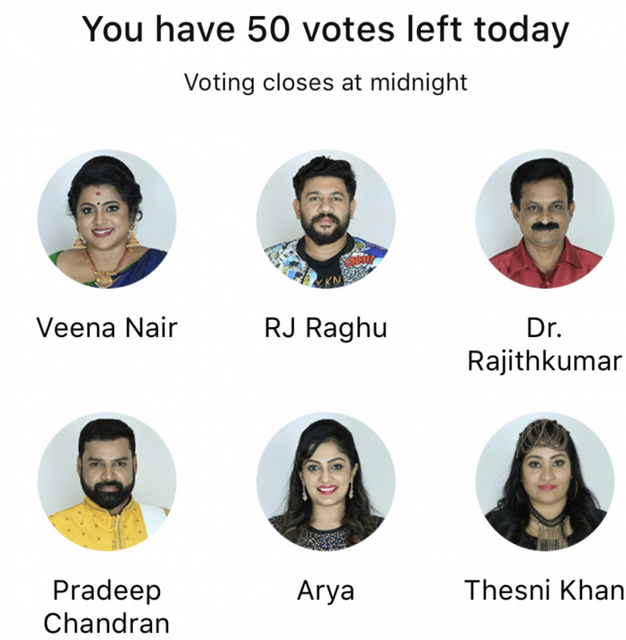 bigg boss malayalam 2 voting week 4