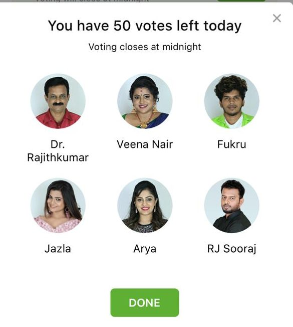 bigg boss malayalam 2 voting week 8