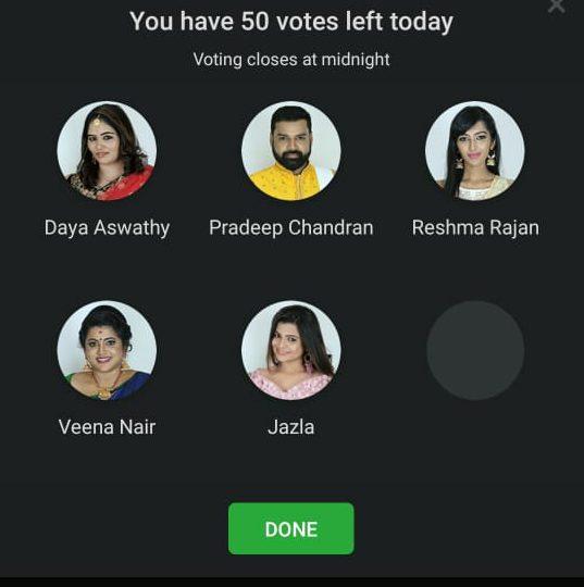bigg boss malayalam 2 vote week 5