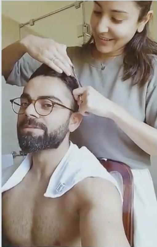 anushka sharma cuts virat kholi's hair