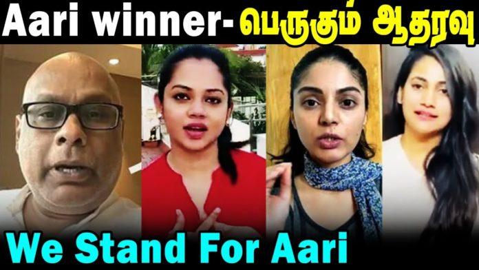 bigg boss tamil 4 winner aari sanam support