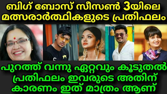 Bigg Boss Malayalam 3 contestant salary