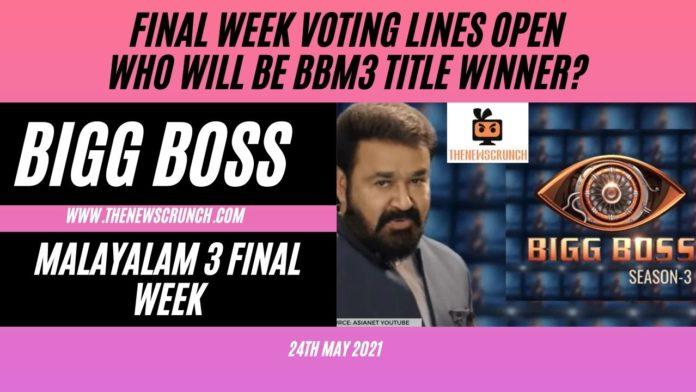 bigg boss malayalam 3 final week voting results winner