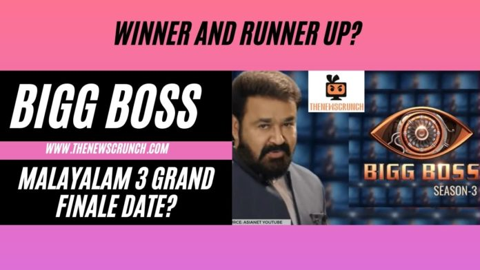 big boss malayalam 3 grand finale date winner